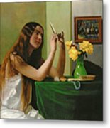 At The Dressing Table Metal Print by Felix Edouard Vallotton
