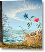 At The End Of The Fence I Am Free Metal Print