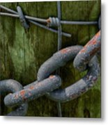 At The Fence Gate - Chain, Wire, And Post Metal Print
