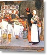 at the florist 1889 Childe Frederick Hassam Metal Print