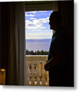 At The Window In Taormina Metal Print