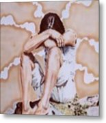 Athabaskan Girl On A Rock Metal Print