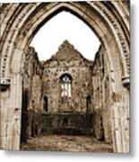 Athassel Priory Tipperary Ireland Medieval Ruins Decorative Arched Doorway Into Great Hall Sepia Metal Print