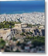 Athens, Greece. Athens Acropolis And City Aerial View From Lycavittos Hill Metal Print