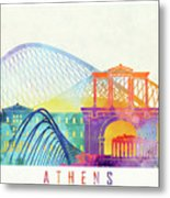 Athens Landmarks Watercolor Poster Metal Print