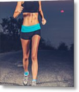 Athletic Woman Jogging Outdoors Metal Print