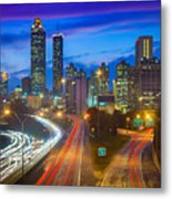 Atlanta Downtown By Night Metal Print