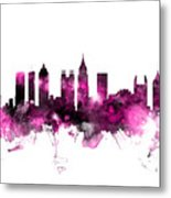 Atlanta Georgia Skyline Pink Metal Print