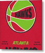 Atlanta Hawks Vintage Basketball Art Metal Print