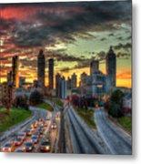 Atlanta Nite Lights Atlanta Downtown Cityscape Art Metal Print