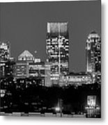 Atlanta Skyline At Night Downtown Midtown Black And White Bw Panorama Metal Print