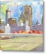 Atlanta Skyline Color Metal Print