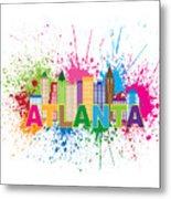 Atlanta Skyline Paint Splatter Text Illustration Metal Print
