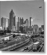 Atlanta Sunset Good Year Blimp Overhead Cityscape Art Metal Print