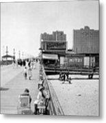 Atlantic City 1920 Boardwalk Promenade, Beach Sand, Signs Apollo Theatre, Mitzi  Metal Print