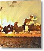 Atlantic Ocean Sunset In Oil  Metal Print
