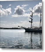Atlantis - A Three Masts Vessel In Port Mahon Crystaline Water Metal Print