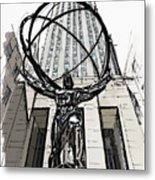 Atlas Sculpture Sketch In New York City Metal Print