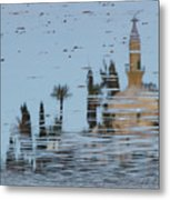 Atmospheric Hala Sultan Tekke Reflection At Larnaca Salt Lake Metal Print