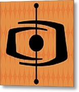 Atomic Shape 1 On Orange Metal Print