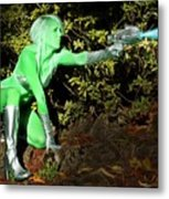 Attack Of The Green Invader Metal Print