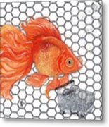 Attention Goldfish Shoppers Metal Print