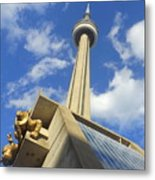 Audience Sculpture And The Cn Tower Metal Print