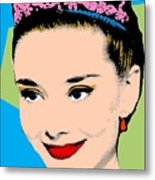 Audrey Hepburn Pop Art Blue Green Metal Print