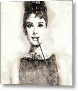 Audrey Hepburn Portrait 01 Metal Print