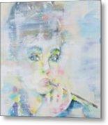 Audrey Hepburn - Watercolor Portrait.16 Metal Print