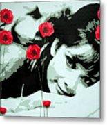 Audrey In Poppies Metal Print