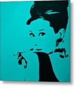 Audrey Light Blue Metal Print