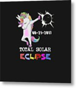 August 21 Solar Total Eclipse Funny Dabbing Unicorn Metal Print