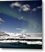 Aurora At Glacier Lagoon Metal Print