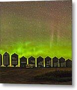 Aurora Borealis Behind Grain Bins Metal Print