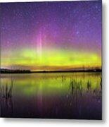 Aurora Borealis Over Lake Sinai Metal Print