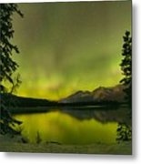 Aurora Over The Forest Metal Print