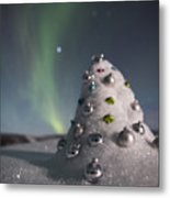 Auroral Christmas Tree Metal Print