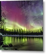 Auroras At The Mill Metal Print