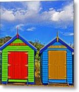Aussie Beach Boxes Metal Print