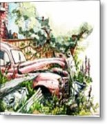 Austin A40 Van Rusting Away In The Garden Metal Print