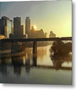 Austin Hike And Bike Trail - Pfluger Pedestrian Bridge - Fog Lifting Bright Panorama Metal Print