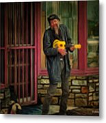 Austin Musician Plays The Blues Metal Print