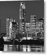 Austin Skyline At Night Black And White Bw Panorama Texas Metal Print