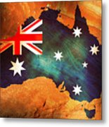 Australian Flag On Rock Metal Print