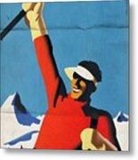 Austria Ski Tourism - Vintage Poster Folded Metal Print