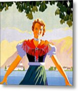 Austria, Young Woman In Traditional Dress Invites You, Danube River Metal Print