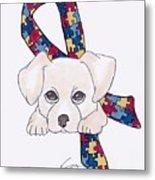 Autism Awareness And Puppy Love Metal Print
