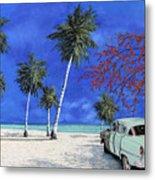 Auto Sulla Spiaggia Metal Print