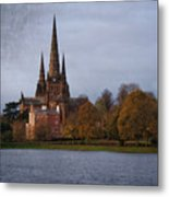 Autumn Lichfield Cathedral Metal Print